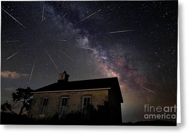 The Perseid Meteor Shower At Lower Fox Creek School  Greeting Card by Keith Kapple