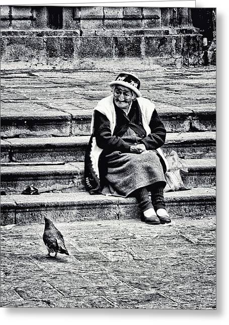 The Peruvian Lady Black And White Greeting Card