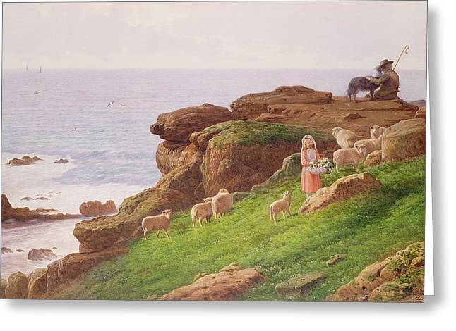 The Pet Lamb Greeting Card by J Hardwicke Lewis