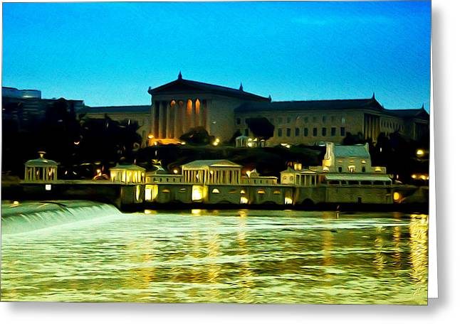 The Philadelphia Art Museum And Waterworks At Night Greeting Card by Bill Cannon