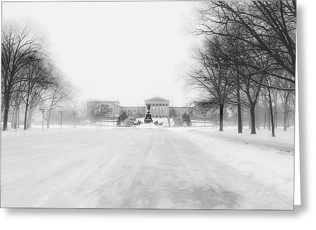 The Philadelphia Art Museum In A Winter Storm Greeting Card by Bill Cannon