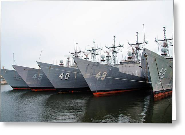 Greeting Card featuring the photograph The Philadelphia Navy Yard by Bill Cannon