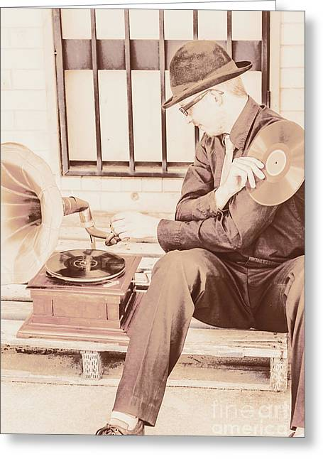 The Phonograph In The Back Alley Greeting Card by Jorgo Photography - Wall Art Gallery