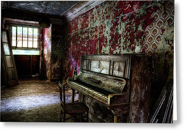 The Piano Without Notes - Urban Exploration Abandoned Building Greeting Card