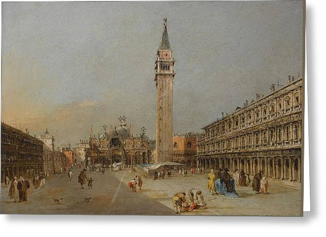 The Piazza San Marco With The Basilica And Campanile Greeting Card by Francesco Guardi