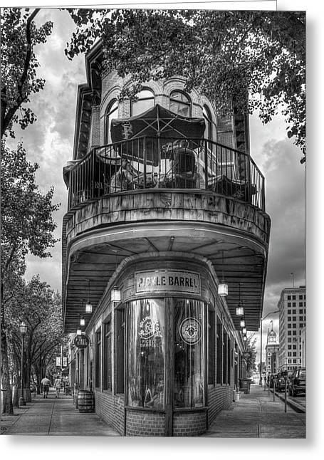 The Pickle Barrel 3 B W Flatiron Architecture Chattanooga Tennessee Art Greeting Card