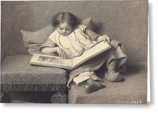The Picture Book Greeting Card by Eastman Johnson