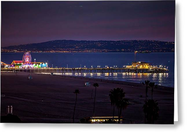 The Pier After Dark - 3 Greeting Card by Gene Parks