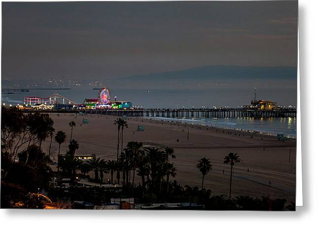 The Pier After Dark Greeting Card by Gene Parks