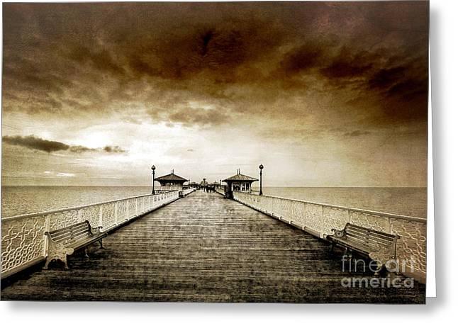 the pier at Llandudno Greeting Card by Meirion Matthias
