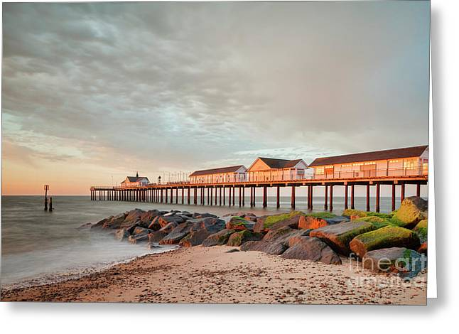 The Pier At Sunrise 2 Greeting Card by Colin and Linda McKie