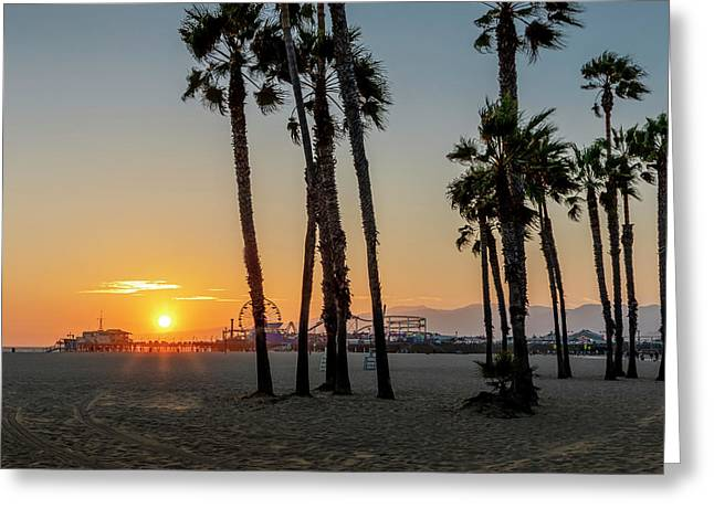 The Pier At Sunset - Square Greeting Card