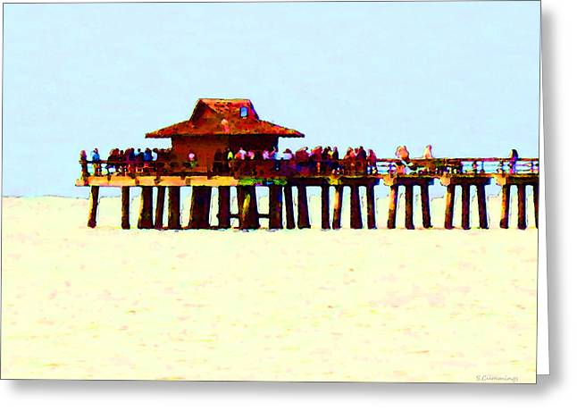 The Pier - Beach Pier Art Greeting Card by Sharon Cummings