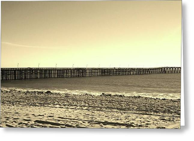 The Pier Greeting Card by Mary Ellen Frazee