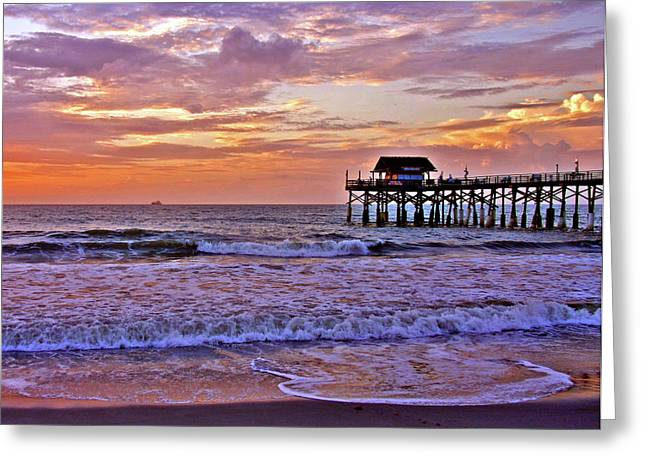 Pink Waves Greeting Cards - The Pier Greeting Card by Scott Mahon