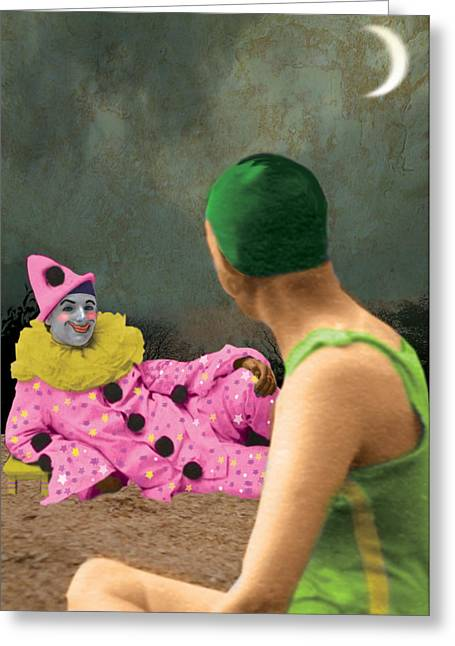 The Pierrot Finally Mentions His Wedding Ring Greeting Card by Max Scratchmann