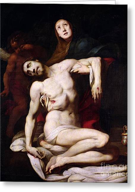 The Pieta Greeting Card by Daniele Crespi