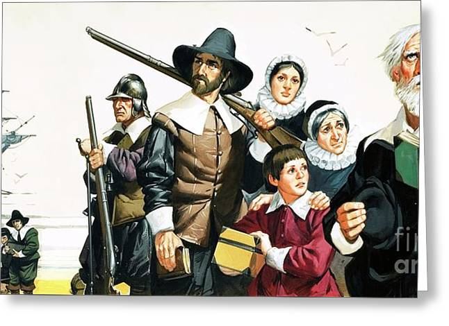 The Pilgrim Fathers Arrive In America Greeting Card by Angus McBride