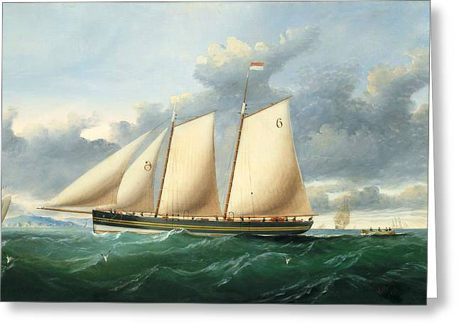 The Pilot Schooner Pioneer Off Point Lynas Greeting Card