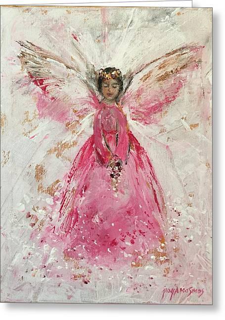The Pink Angel  Greeting Card by Jun Jamosmos