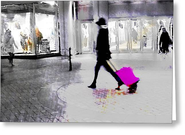 Greeting Card featuring the photograph The Pink Bag by LemonArt Photography