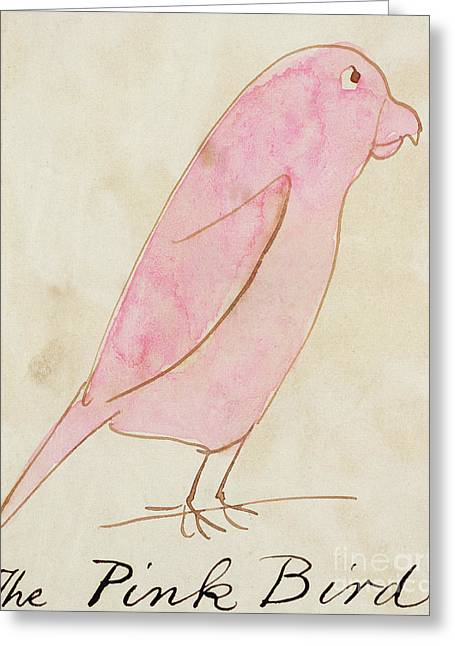 The Pink Bird Greeting Card by Edward Lear