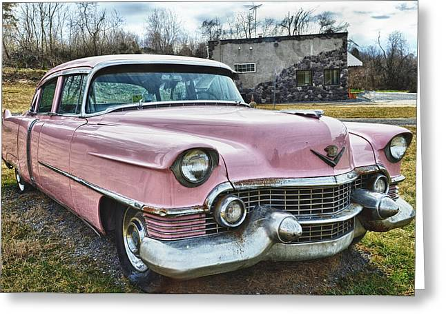 The Pink Cadillac II Greeting Card by Kathy Jennings