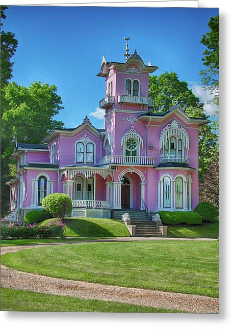 The Pink House Greeting Card by Guy Whiteley