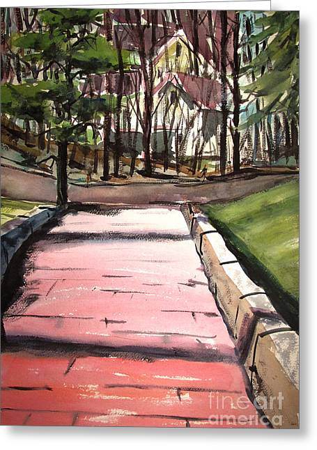 The Pink Road Off S Broadway Matted Glassed Greeting Card by Charlie Spear