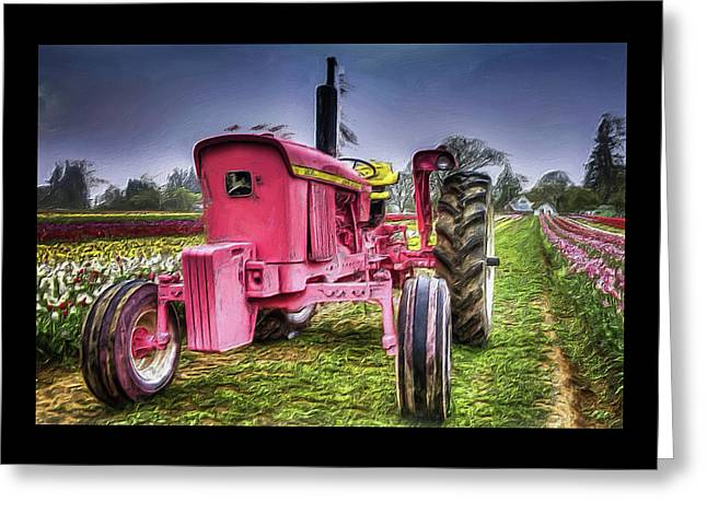Greeting Card featuring the photograph The Pink Tractor At The Wooden Shoe Tulip Farm by Thom Zehrfeld
