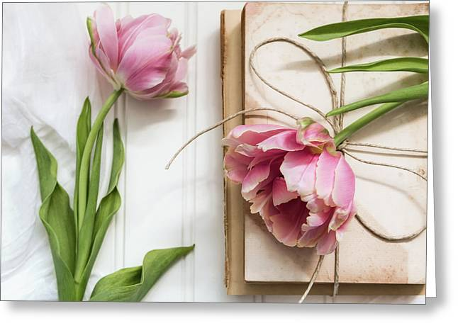 Greeting Card featuring the photograph The Pink Tulips by Kim Hojnacki