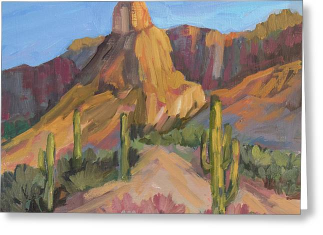 Greeting Card featuring the painting The Pinnacle At Goldfield Mountains by Diane McClary