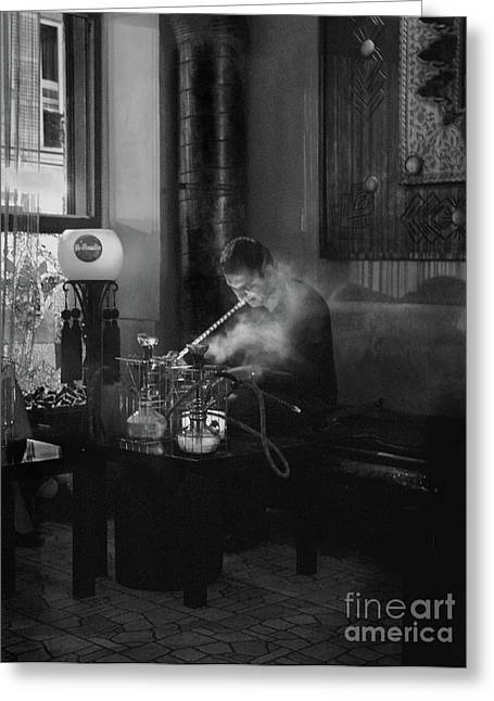 The Pipe Smoker Greeting Card by Louise Fahy