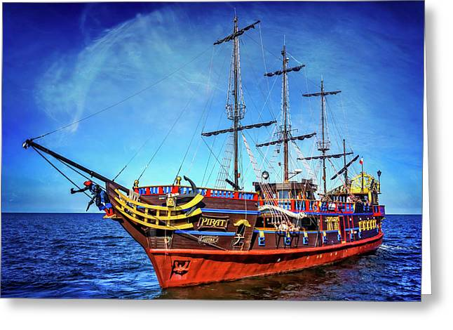 Greeting Card featuring the photograph The Pirate Ship Ustka In Sopot  by Carol Japp