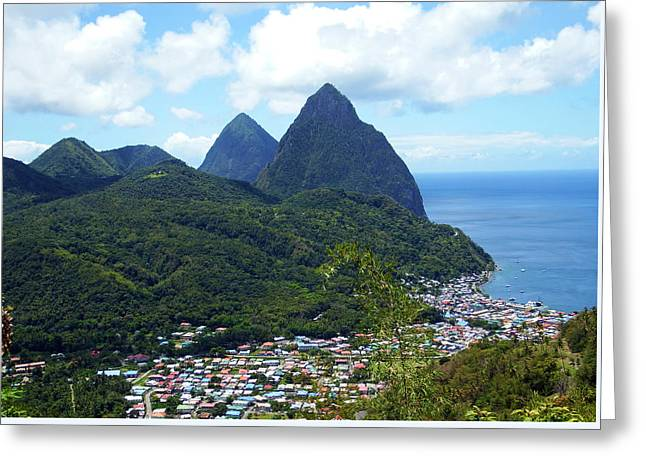 Greeting Card featuring the photograph The Pitons, St. Lucia by Kurt Van Wagner