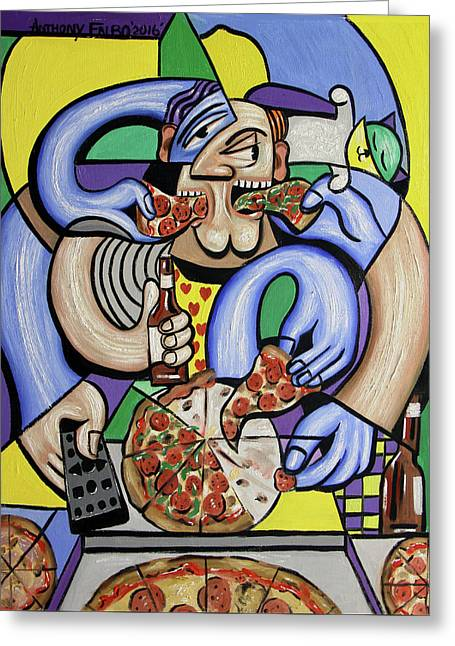 The Pizzaholic Greeting Card by Anthony Falbo