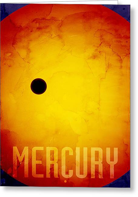 The Planet Mercury Greeting Card by Michael Tompsett