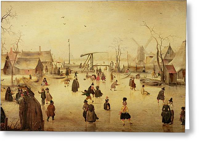 The Pleasures Of Winter Greeting Card by Hendrik Avercamp