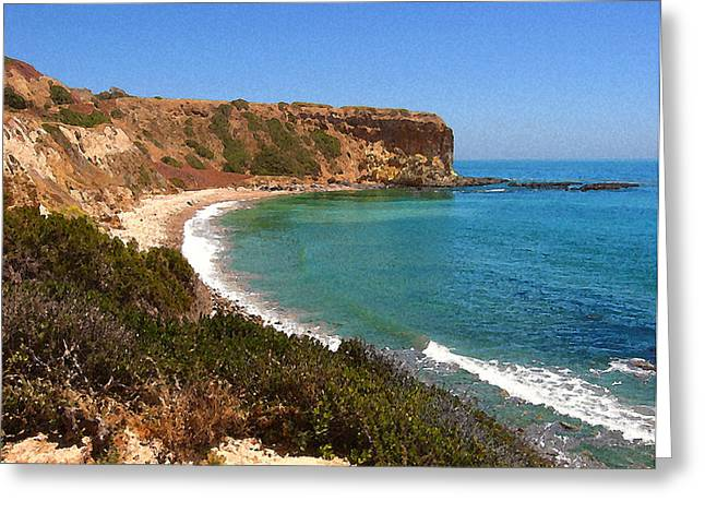 Greeting Card featuring the digital art The Point At Abalone Cove by Timothy Bulone