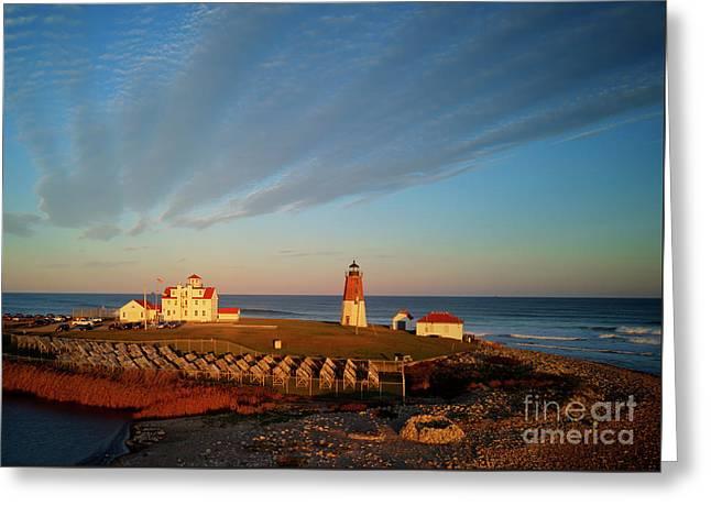 The Point Judith Light Narragansett Bay Rhode Island - Drone Greeting Card