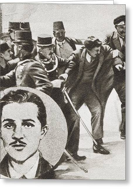 The Police Arresting Gavrilo Princip Greeting Card by Vintage Design Pics