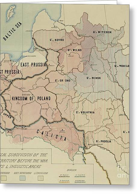 The Political Subdivision Of The Polish Territory Before The War And Its Linguistic Areas, 1918 Greeting Card