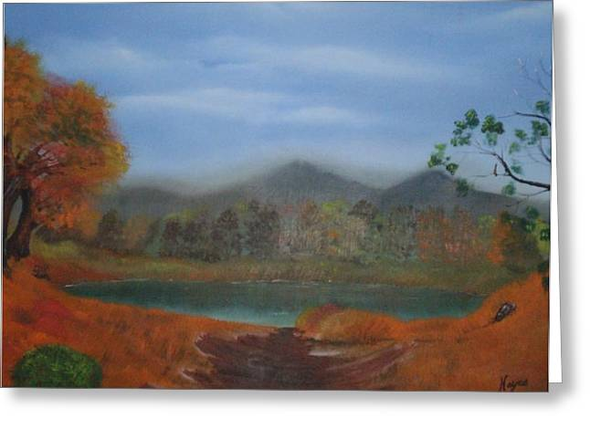 Greeting Card featuring the painting The Pond by Barbara Hayes