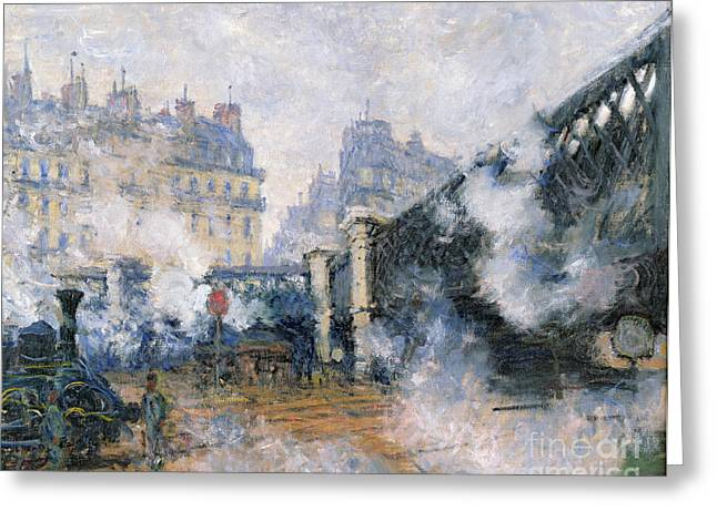 Train Bridges Greeting Cards - The Pont de lEurope Gare Saint Lazare Greeting Card by Claude Monet