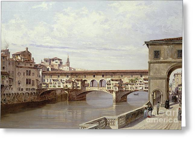 Landscape. Scenic Paintings Greeting Cards - The Pontevecchio - Florence  Greeting Card by Antonietta Brandeis