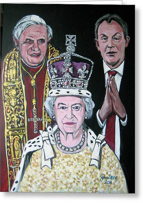 The Pope The Queen And The Politician Greeting Card by Ray Johnstone