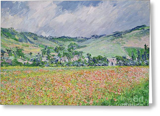 The Poppy Field Near Giverny Greeting Card by Claude Monet