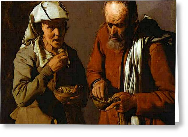 The Porridge Eaters Abc Greeting Card by Georges de La Tour