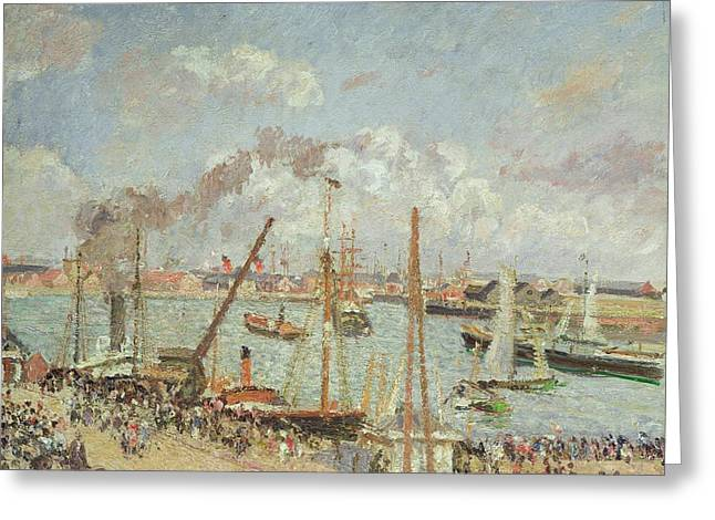 The Port Of Le Havre In The Afternoon Sun Greeting Card by Camille Pissarro