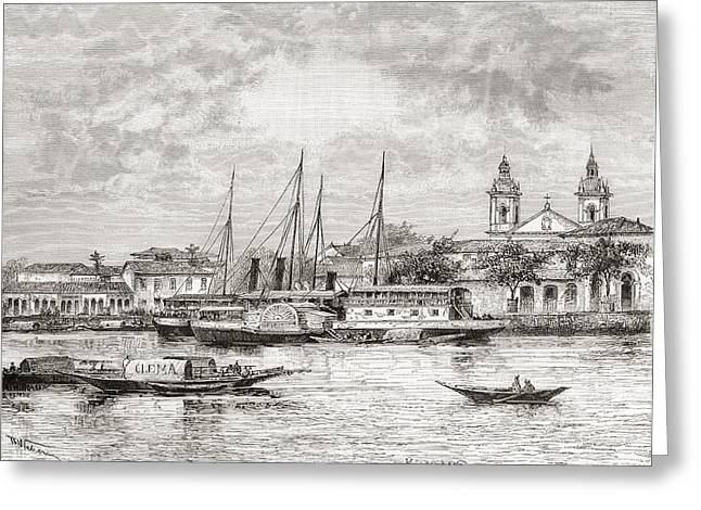 The Port Of Manaus, Amazonas State Greeting Card by Vintage Design Pics